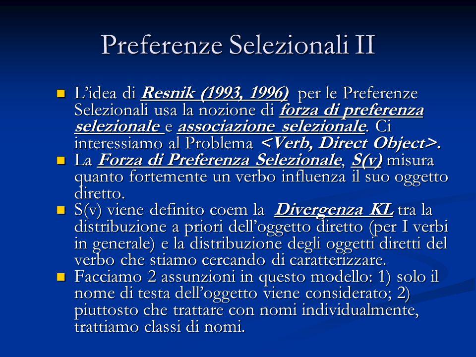 Preferenze Selezionali II L'idea di Resnik (1993, 1996) per le Preferenze Selezionali usa la nozione di forza di preferenza selezionale e associazione selezionale.