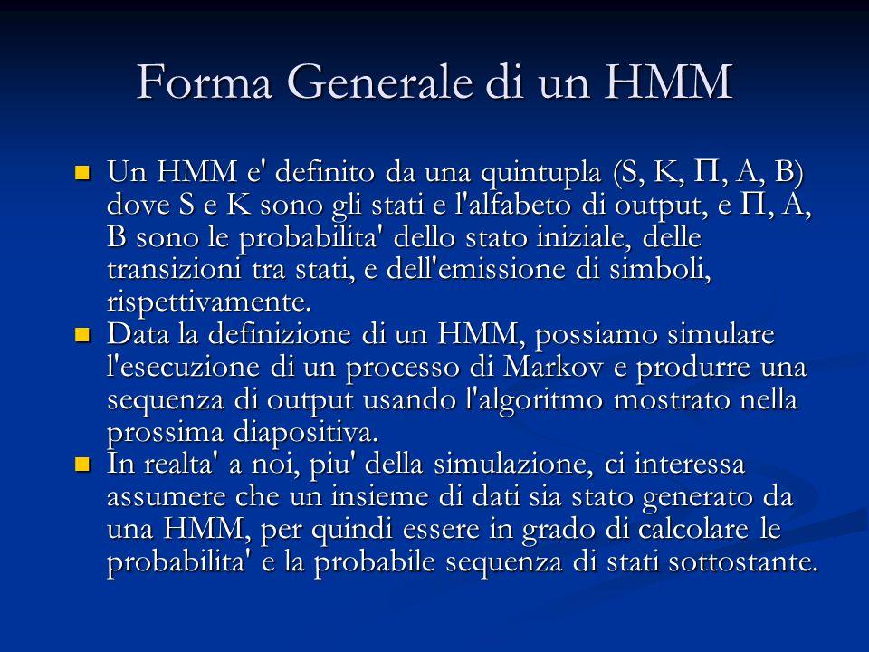 Forma Generale di un HMM Un HMM e definito da una quintupla (S, K, , A, B) dove S e K sono gli stati e l alfabeto di output, e , A, B sono le probabilita dello stato iniziale, delle transizioni tra stati, e dell emissione di simboli, rispettivamente.