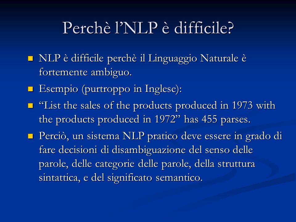 Perchè l'NLP è difficile.NLP è difficile perchè il Linguaggio Naturale è fortemente ambiguo.