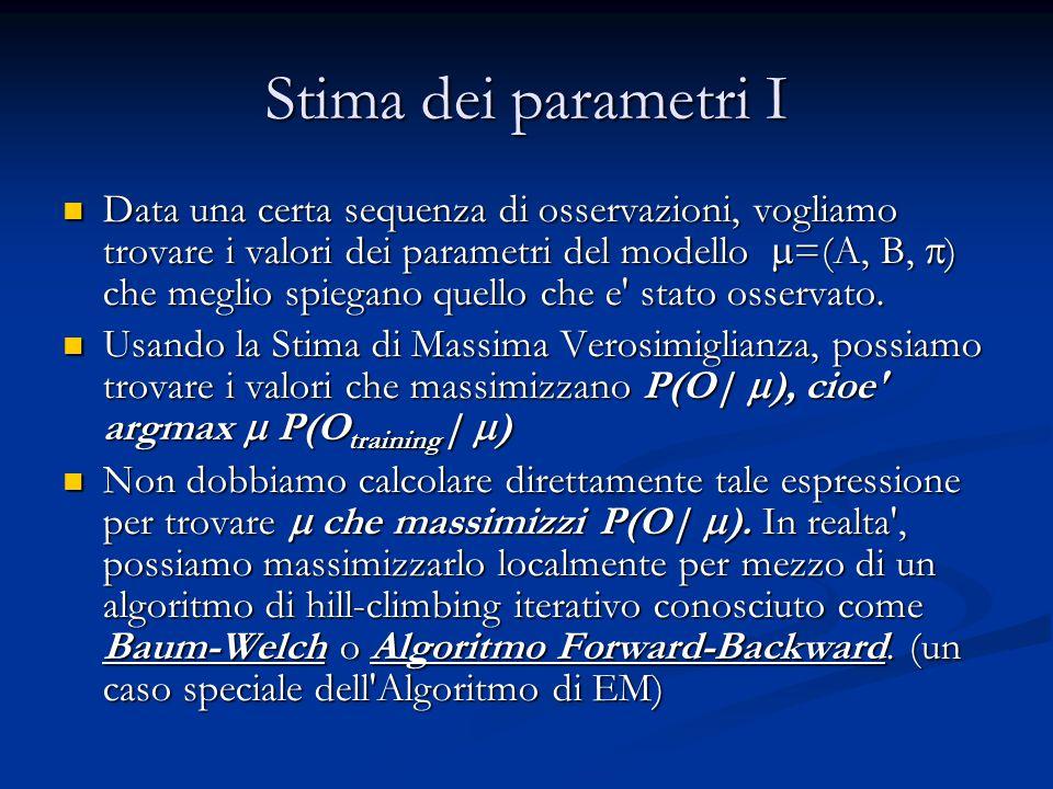 Stima dei parametri I Data una certa sequenza di osservazioni, vogliamo trovare i valori dei parametri del modello  =(A, B,  ) che meglio spiegano quello che e stato osservato.