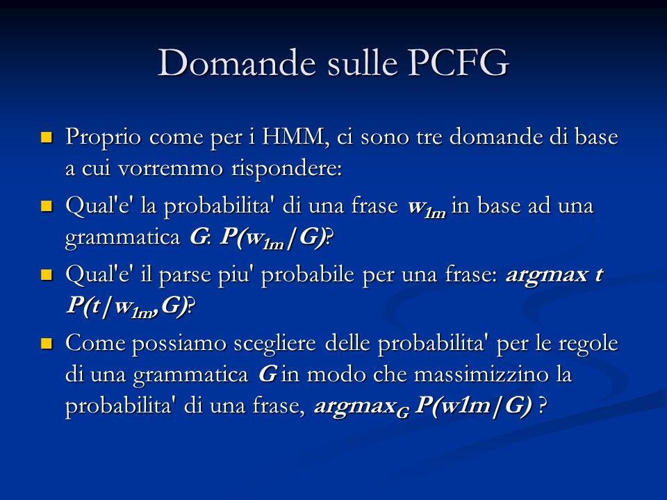 Domande sulle PCFG Proprio come per i HMM, ci sono tre domande di base a cui vorremmo rispondere: Proprio come per i HMM, ci sono tre domande di base a cui vorremmo rispondere: Qual e la probabilita di una frase w 1m in base ad una grammatica G: P(w 1m |G).