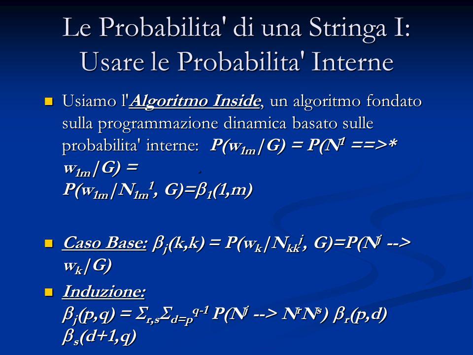 Le Probabilita di una Stringa I: Usare le Probabilita Interne Usiamo l Algoritmo Inside, un algoritmo fondato sulla programmazione dinamica basato sulle probabilita interne: P(w 1m |G) = P(N 1 ==>* w 1m |G) =.