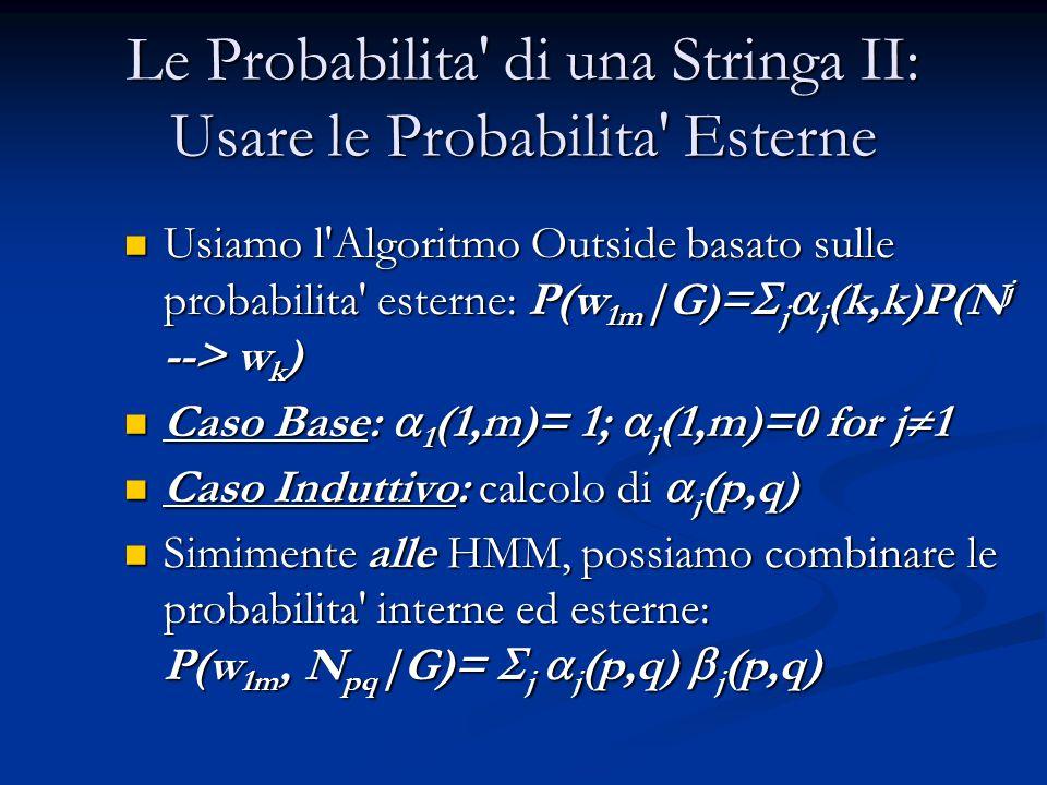 Le Probabilita di una Stringa II: Usare le Probabilita Esterne Usiamo l Algoritmo Outside basato sulle probabilita esterne: P(w 1m |G)=  j  j (k,k)P(N j --> w k ) Usiamo l Algoritmo Outside basato sulle probabilita esterne: P(w 1m |G)=  j  j (k,k)P(N j --> w k ) Caso Base:  1 (1,m)= 1;  j (1,m)=0 for j  1 Caso Base:  1 (1,m)= 1;  j (1,m)=0 for j  1 Caso Induttivo: calcolo di  j (p,q) Caso Induttivo: calcolo di  j (p,q) Simimente alle HMM, possiamo combinare le probabilita interne ed esterne: P(w 1m, N pq |G)=  j  j (p,q)  j (p,q) Simimente alle HMM, possiamo combinare le probabilita interne ed esterne: P(w 1m, N pq |G)=  j  j (p,q)  j (p,q)