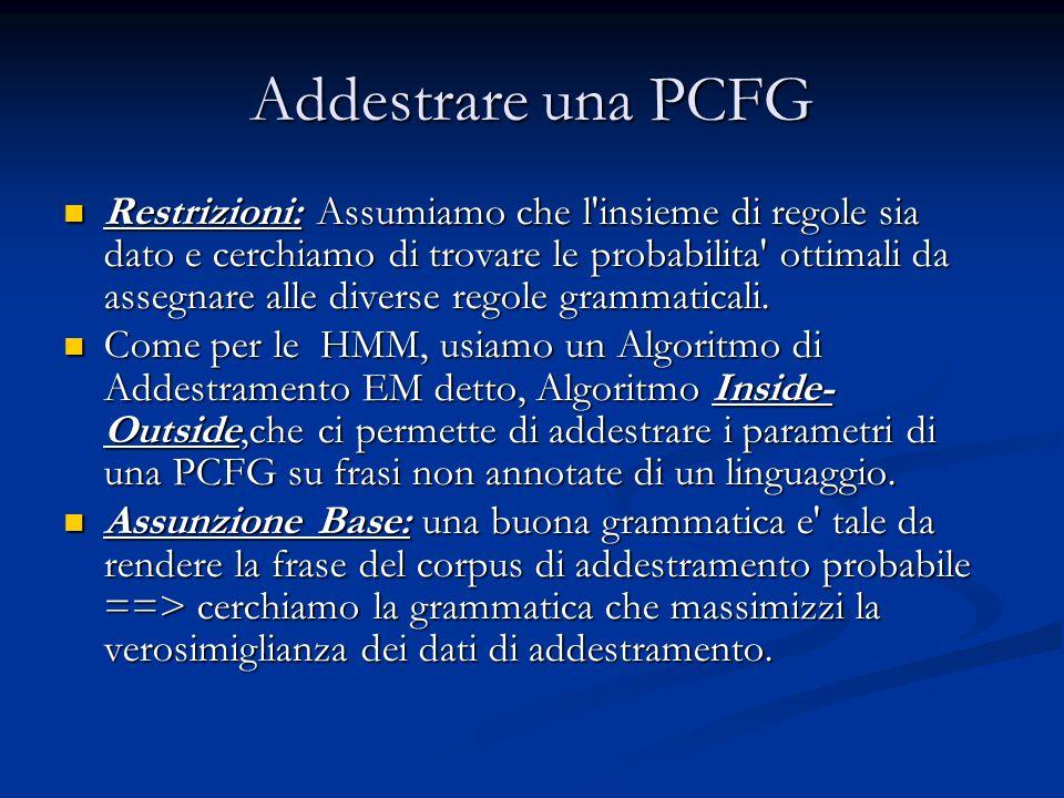 Addestrare una PCFG Restrizioni: Assumiamo che l'insieme di regole sia dato e cerchiamo di trovare le probabilita' ottimali da assegnare alle diverse