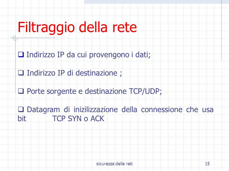 sicurezza delle reti15  Indirizzo IP da cui provengono i dati;  Indirizzo IP di destinazione ;  Porte sorgente e destinazione TCP/UDP;  Datagram d