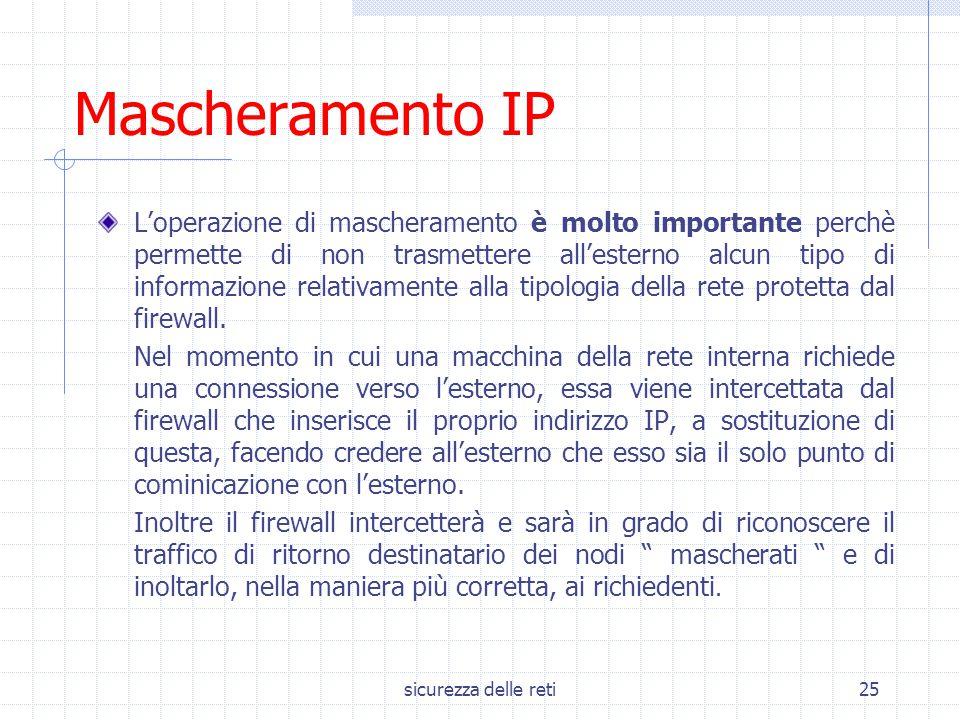 sicurezza delle reti25 Mascheramento IP L'operazione di mascheramento è molto importante perchè permette di non trasmettere all'esterno alcun tipo di