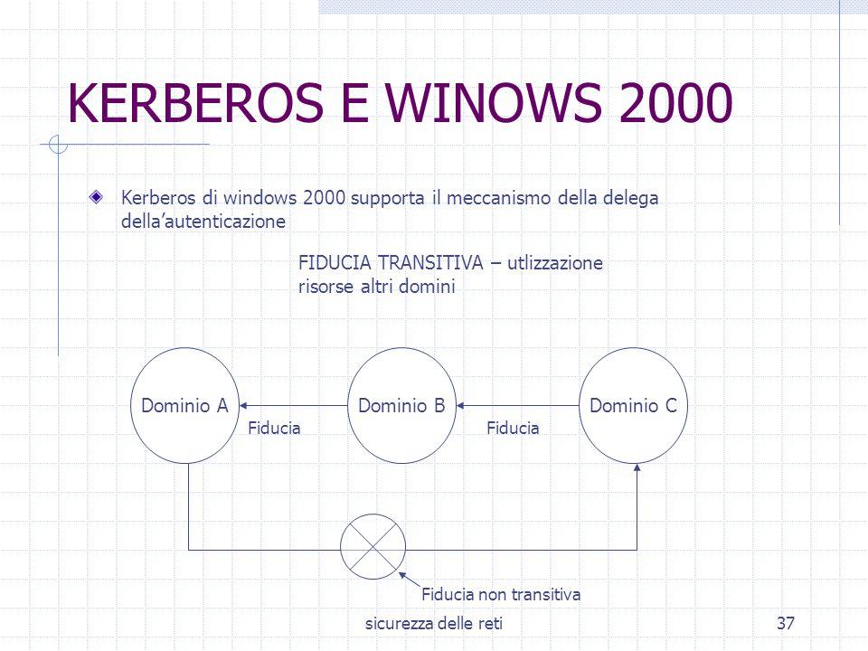 sicurezza delle reti37 KERBEROS E WINOWS 2000 Kerberos di windows 2000 supporta il meccanismo della delega della'autenticazione FIDUCIA TRANSITIVA – u