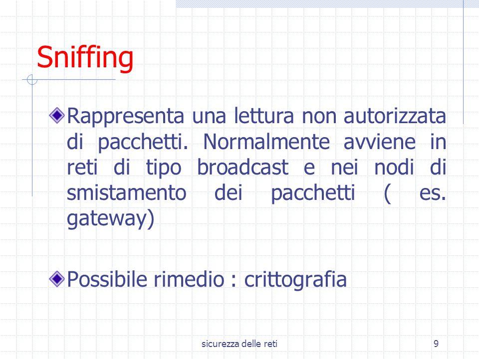 sicurezza delle reti9 Sniffing Rappresenta una lettura non autorizzata di pacchetti. Normalmente avviene in reti di tipo broadcast e nei nodi di smist