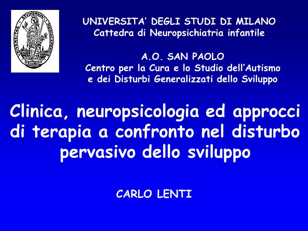 UNIVERSITA' DEGLI STUDI DI MILANO Cattedra di Neuropsichiatria infantile CARLO LENTI Clinica, neuropsicologia ed approcci di terapia a confronto nel d