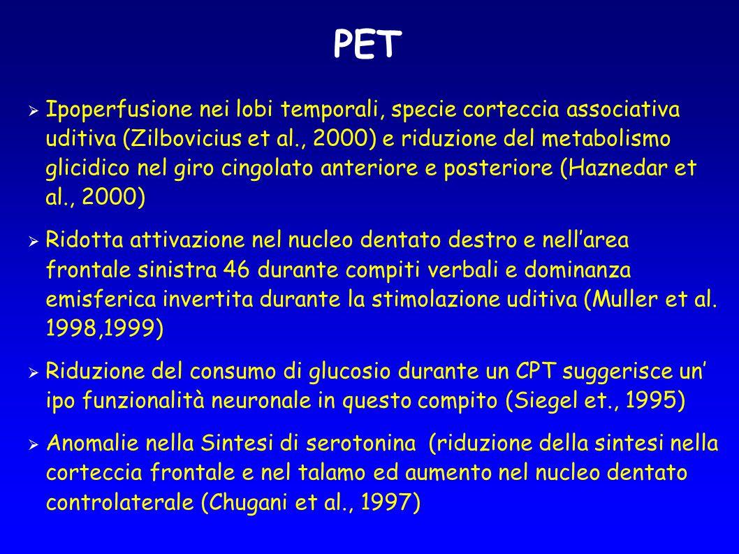 PET  Ipoperfusione nei lobi temporali, specie corteccia associativa uditiva (Zilbovicius et al., 2000) e riduzione del metabolismo glicidico nel giro