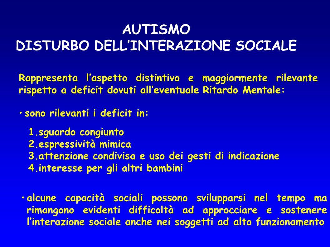 AUTISMO DISTURBO DELL'INTERAZIONE SOCIALE Rappresenta l'aspetto distintivo e maggiormente rilevante rispetto a deficit dovuti all'eventuale Ritardo Me