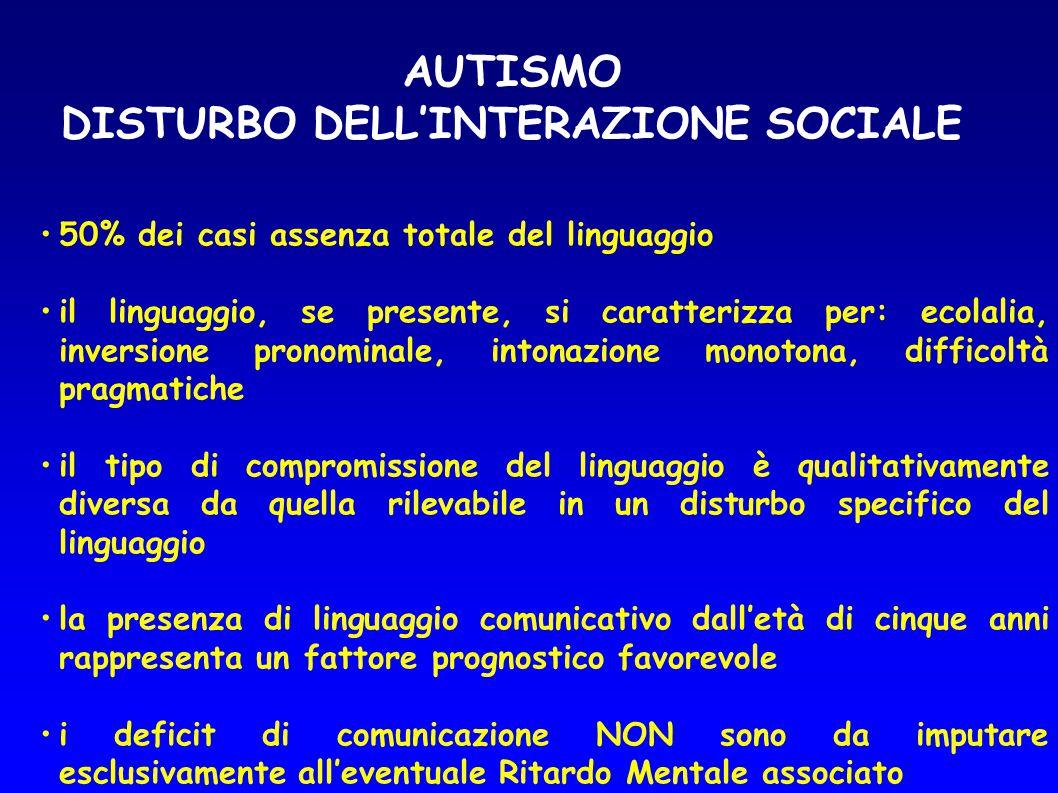 AUTISMO DISTURBO DELL'INTERAZIONE SOCIALE 50% dei casi assenza totale del linguaggio il linguaggio, se presente, si caratterizza per: ecolalia, invers