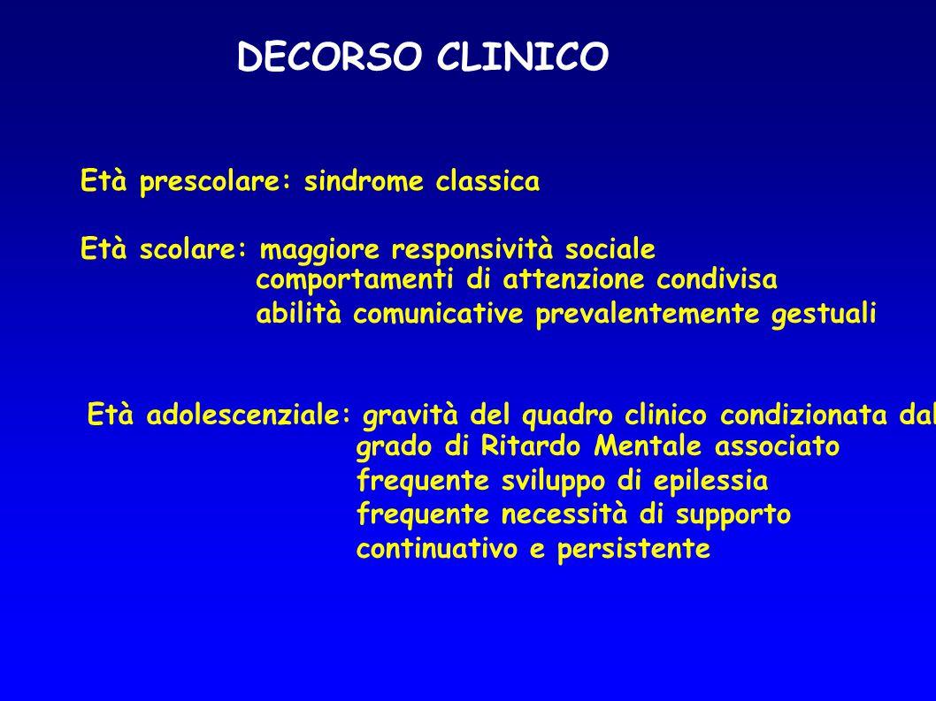 DECORSO CLINICO Età prescolare: sindrome classica Età scolare: maggiore responsività sociale comportamenti di attenzione condivisa abilità comunicativ