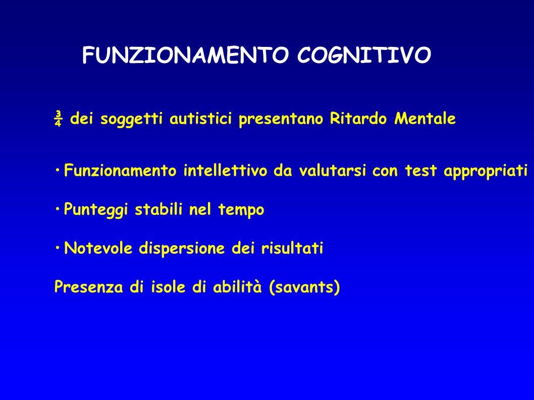 FUNZIONAMENTO COGNITIVO ¾ dei soggetti autistici presentano Ritardo Mentale Funzionamento intellettivo da valutarsi con test appropriati Punteggi stab