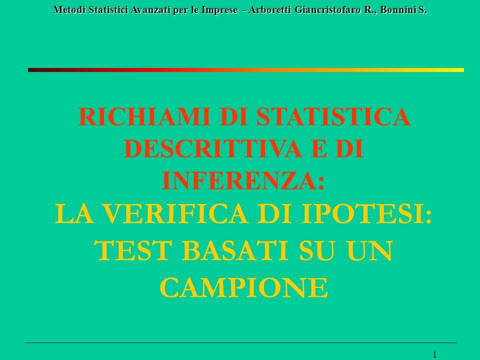 Metodi Statistici Avanzati per le Imprese – Arboretti Giancristofaro R., Bonnini S. 1 RICHIAMI DI STATISTICA DESCRITTIVA E DI INFERENZA: LA VERIFICA D