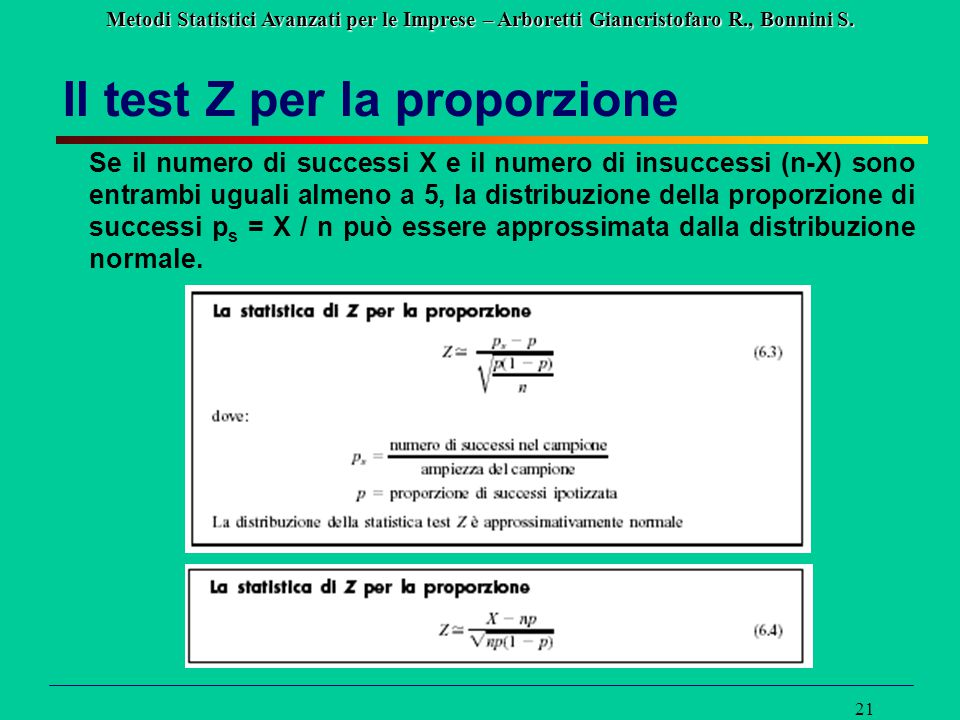 Metodi Statistici Avanzati per le Imprese – Arboretti Giancristofaro R., Bonnini S. 21 Il test Z per la proporzione Se il numero di successi X e il nu