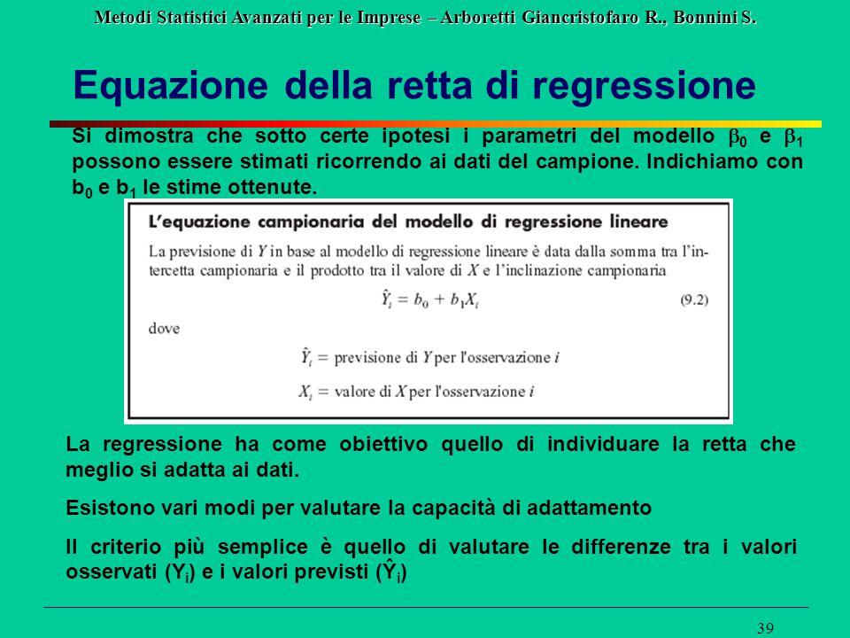 Metodi Statistici Avanzati per le Imprese – Arboretti Giancristofaro R., Bonnini S. 39 Equazione della retta di regressione Si dimostra che sotto cert