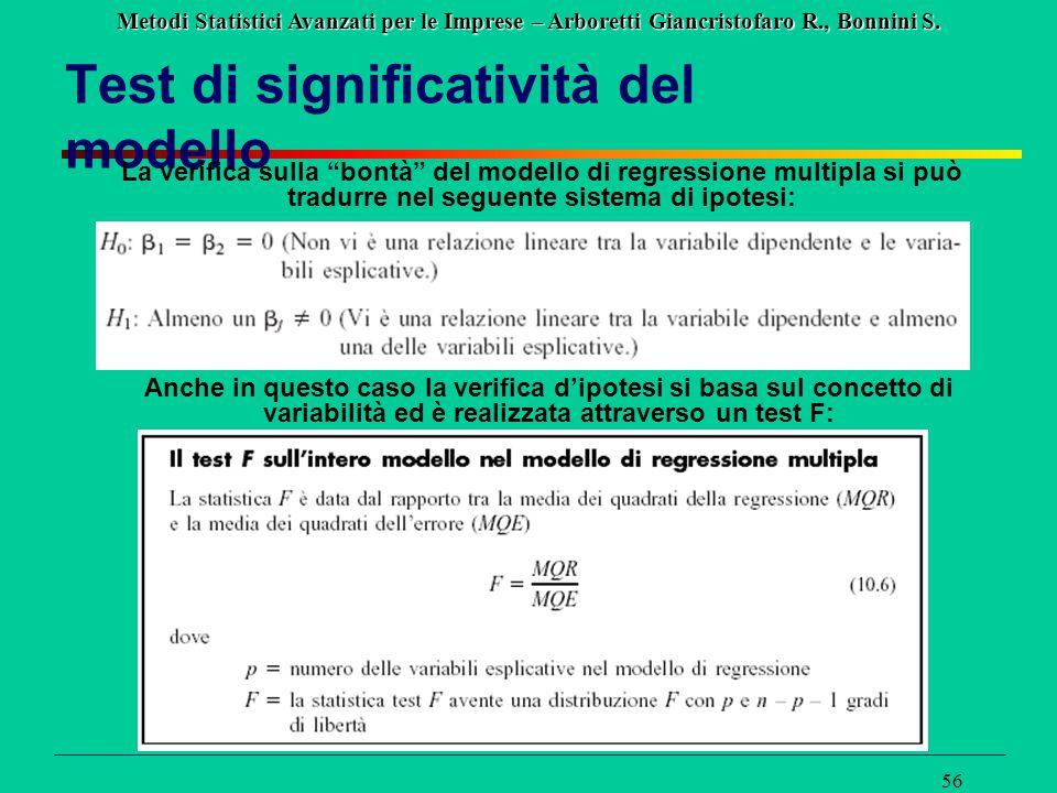 """Metodi Statistici Avanzati per le Imprese – Arboretti Giancristofaro R., Bonnini S. 56 Test di significatività del modello La verifica sulla """"bontà"""" d"""