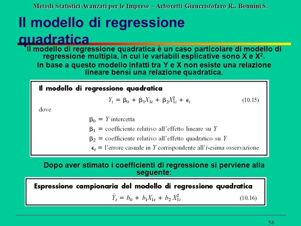 Metodi Statistici Avanzati per le Imprese – Arboretti Giancristofaro R., Bonnini S. 58 Il modello di regressione quadratica Il modello di regressione