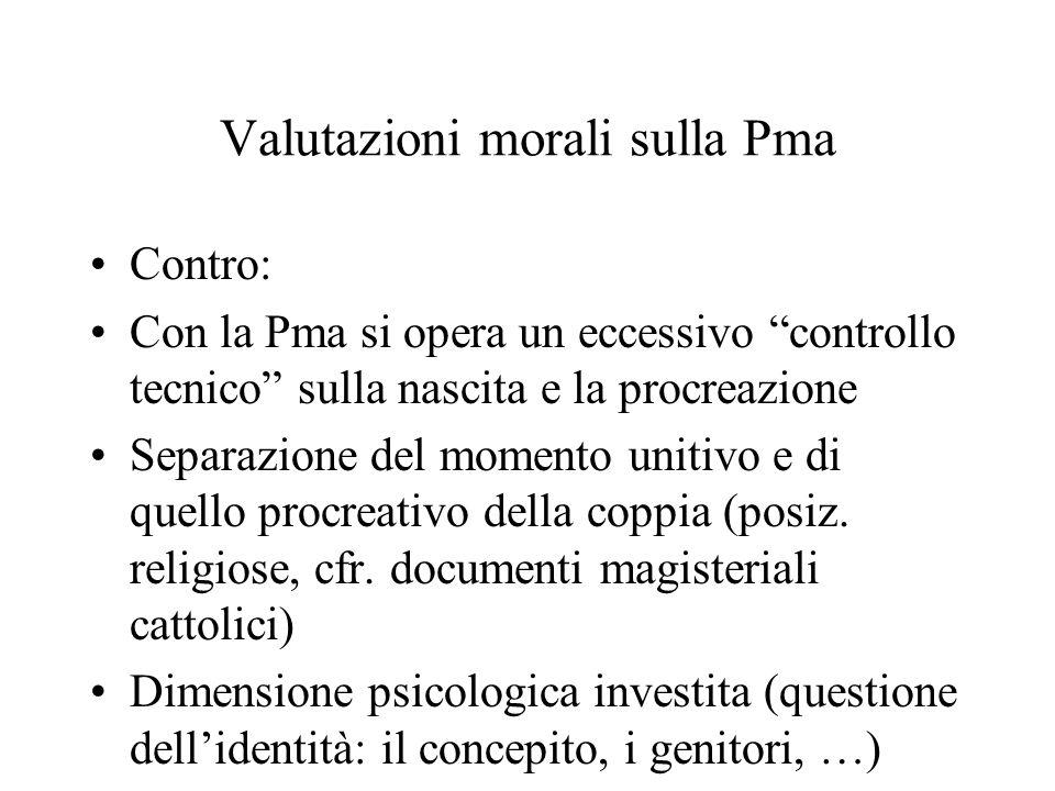 """Valutazioni morali sulla Pma Contro: Con la Pma si opera un eccessivo """"controllo tecnico"""" sulla nascita e la procreazione Separazione del momento unit"""