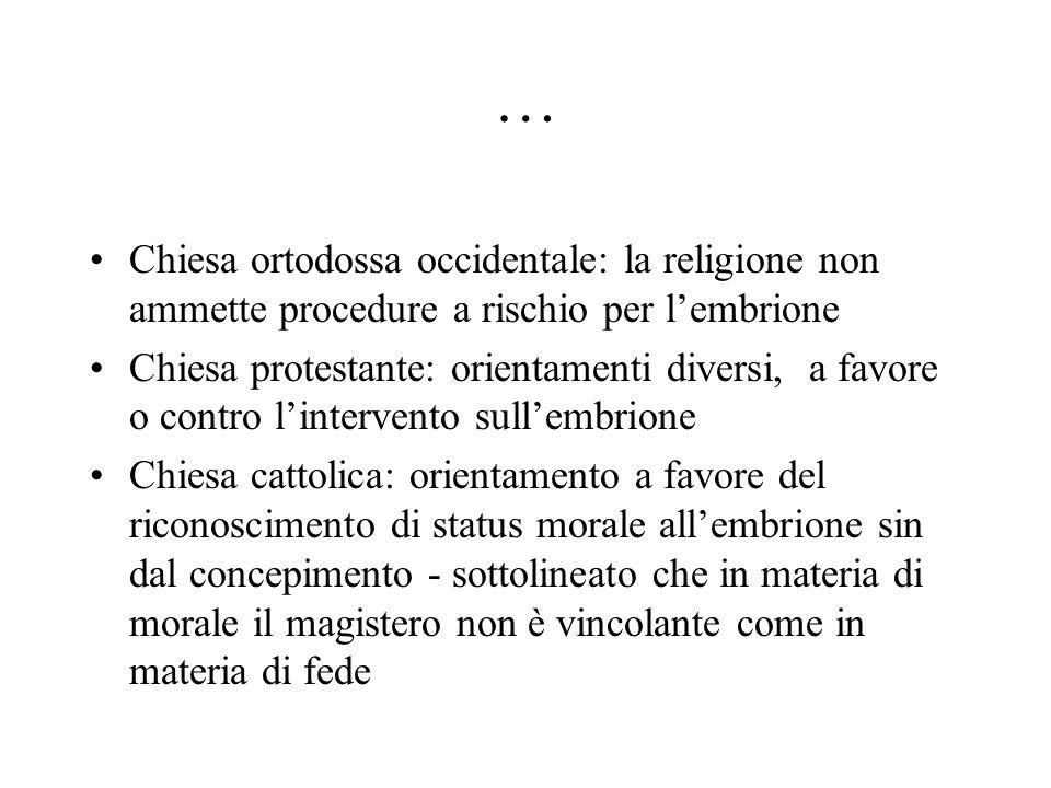 … Chiesa ortodossa occidentale: la religione non ammette procedure a rischio per l'embrione Chiesa protestante: orientamenti diversi, a favore o contr