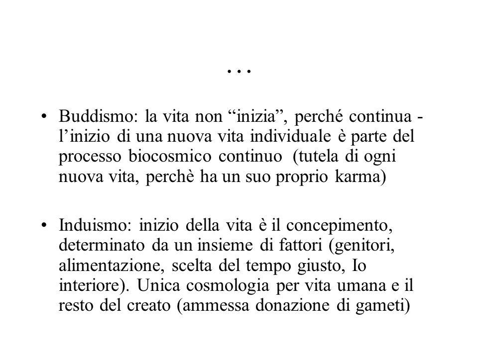 """… Buddismo: la vita non """"inizia"""", perché continua - l'inizio di una nuova vita individuale è parte del processo biocosmico continuo (tutela di ogni nu"""