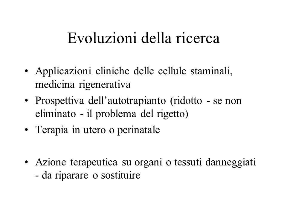 Evoluzioni della ricerca Applicazioni cliniche delle cellule staminali, medicina rigenerativa Prospettiva dell'autotrapianto (ridotto - se non elimina