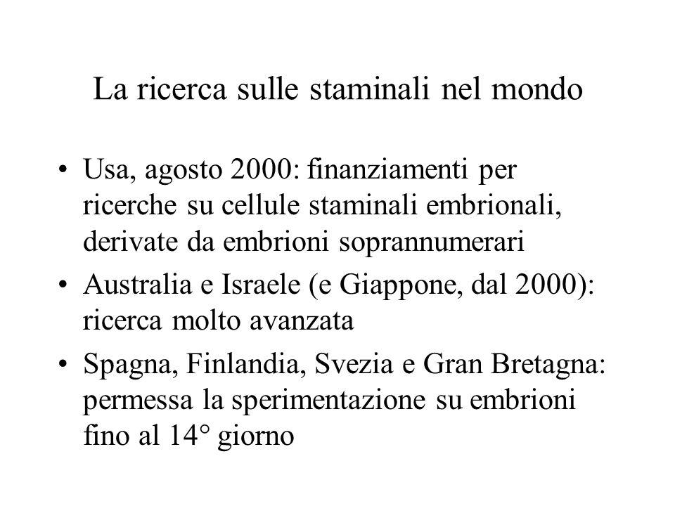 La ricerca sulle staminali nel mondo Usa, agosto 2000: finanziamenti per ricerche su cellule staminali embrionali, derivate da embrioni soprannumerari