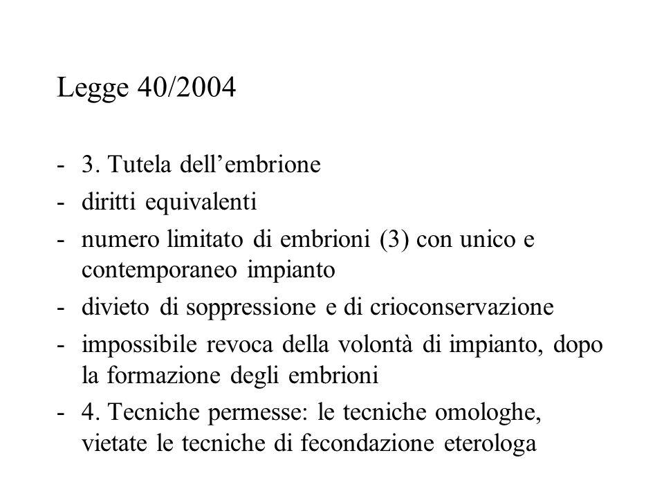 Legge 40/2004 -3. Tutela dell'embrione -diritti equivalenti -numero limitato di embrioni (3) con unico e contemporaneo impianto -divieto di soppressio
