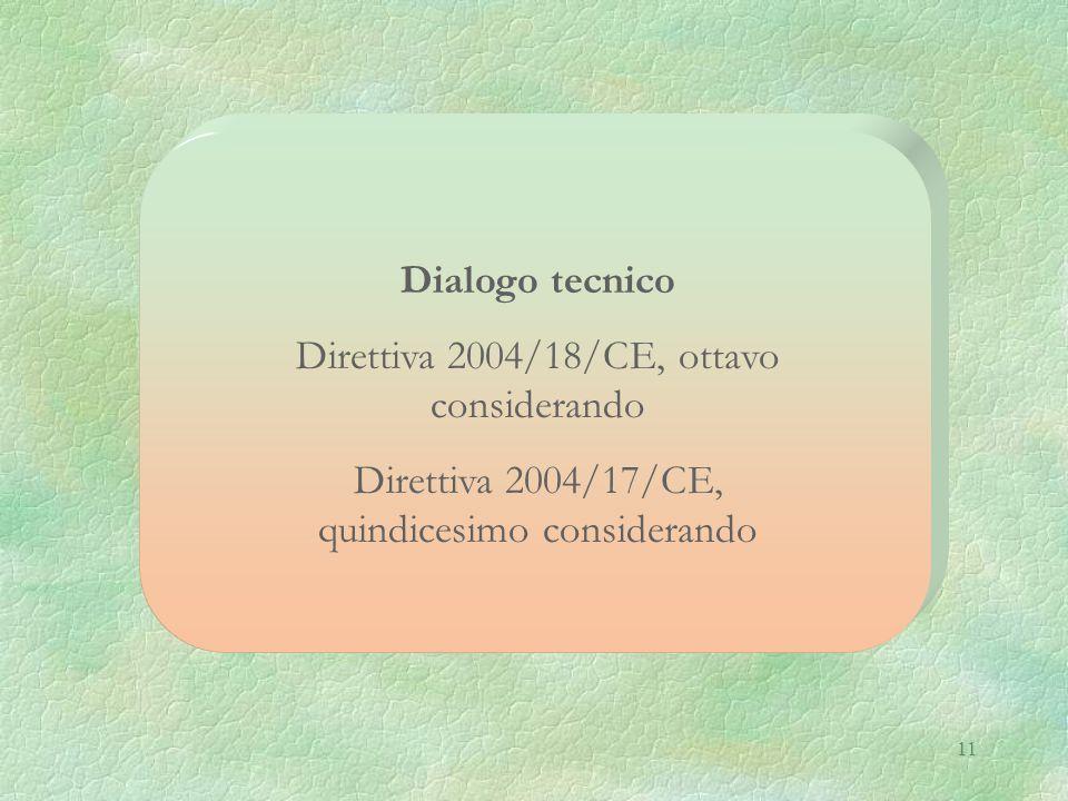 11 Dialogo tecnico Direttiva 2004/18/CE, ottavo considerando Direttiva 2004/17/CE, quindicesimo considerando