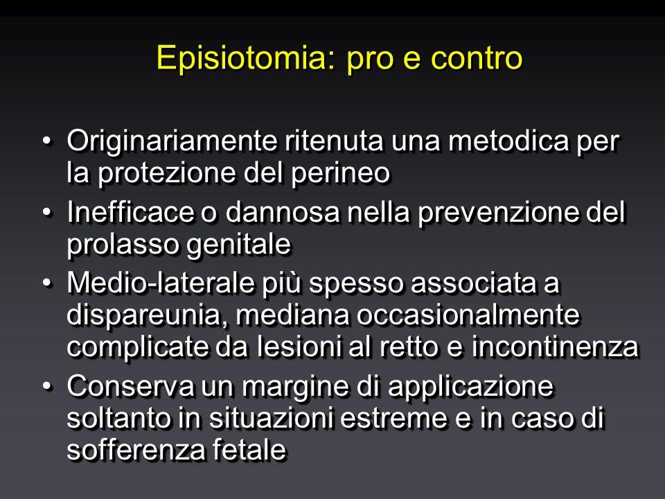 Episiotomia: pro e contro Originariamente ritenuta una metodica per la protezione del perineoOriginariamente ritenuta una metodica per la protezione del perineo Inefficace o dannosa nella prevenzione del prolasso genitaleInefficace o dannosa nella prevenzione del prolasso genitale Medio-laterale più spesso associata a dispareunia, mediana occasionalmente complicate da lesioni al retto e incontinenzaMedio-laterale più spesso associata a dispareunia, mediana occasionalmente complicate da lesioni al retto e incontinenza Conserva un margine di applicazione soltanto in situazioni estreme e in caso di sofferenza fetaleConserva un margine di applicazione soltanto in situazioni estreme e in caso di sofferenza fetale Originariamente ritenuta una metodica per la protezione del perineoOriginariamente ritenuta una metodica per la protezione del perineo Inefficace o dannosa nella prevenzione del prolasso genitaleInefficace o dannosa nella prevenzione del prolasso genitale Medio-laterale più spesso associata a dispareunia, mediana occasionalmente complicate da lesioni al retto e incontinenzaMedio-laterale più spesso associata a dispareunia, mediana occasionalmente complicate da lesioni al retto e incontinenza Conserva un margine di applicazione soltanto in situazioni estreme e in caso di sofferenza fetaleConserva un margine di applicazione soltanto in situazioni estreme e in caso di sofferenza fetale
