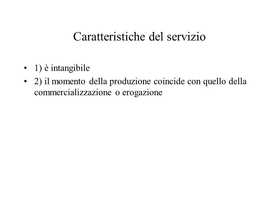 Caratteristiche del servizio 1) è intangibile 2) il momento della produzione coincide con quello della commercializzazione o erogazione