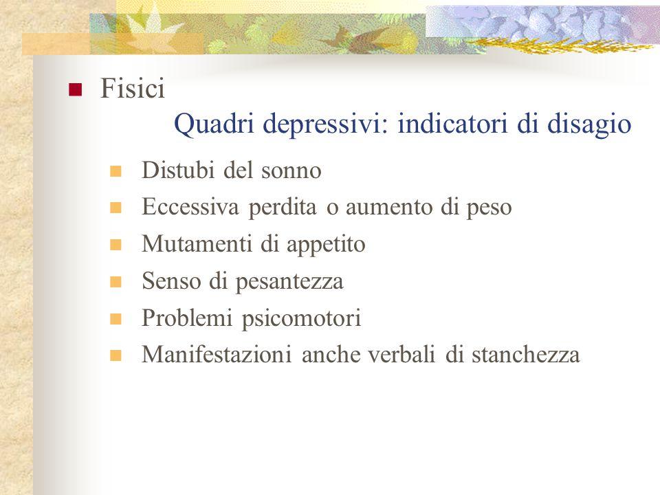 Quadri depressivi: indicatori di disagio Fisici Distubi del sonno Eccessiva perdita o aumento di peso Mutamenti di appetito Senso di pesantezza Proble