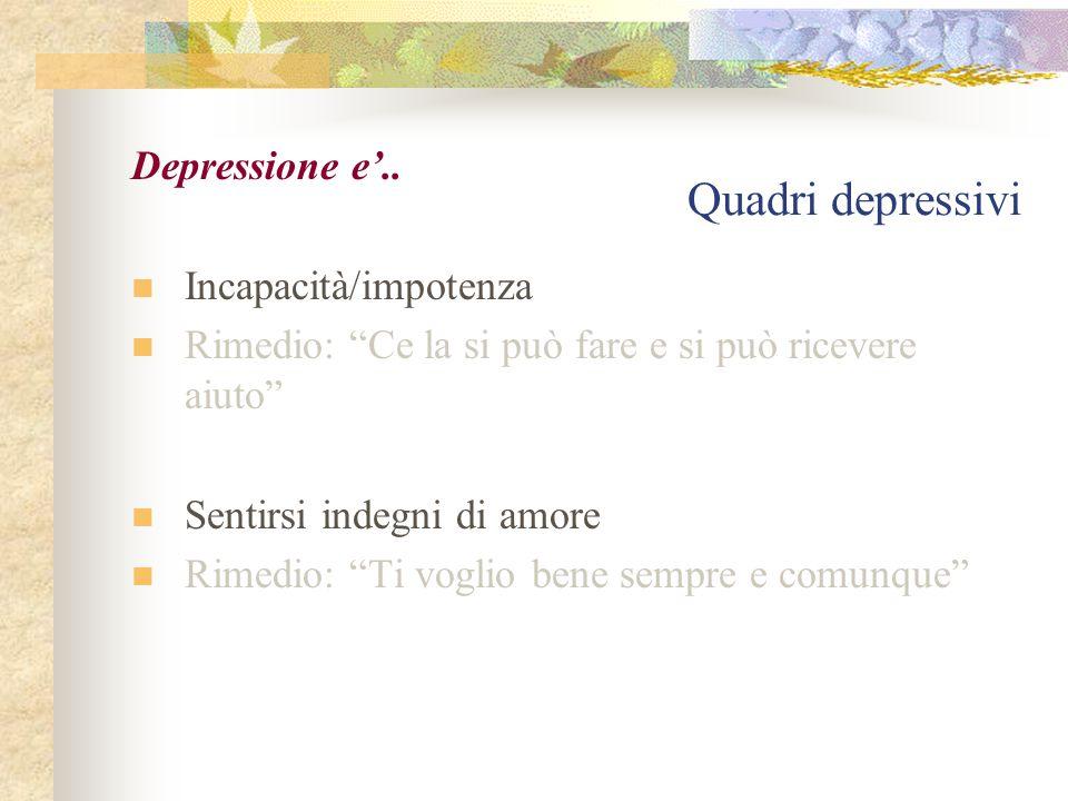 """Quadri depressivi Depressione e'.. Incapacità/impotenza Rimedio: """"Ce la si può fare e si può ricevere aiuto"""" Sentirsi indegni di amore Rimedio: """"Ti vo"""