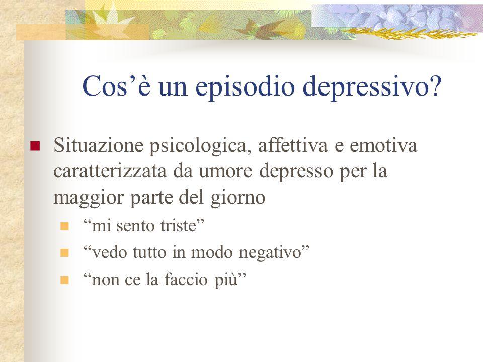 """Cos'è un episodio depressivo? Situazione psicologica, affettiva e emotiva caratterizzata da umore depresso per la maggior parte del giorno """"mi sento t"""