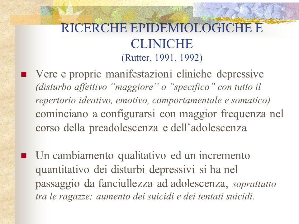 """RICERCHE EPIDEMIOLOGICHE E CLINICHE (Rutter, 1991, 1992) Vere e proprie manifestazioni cliniche depressive (disturbo affettivo """"maggiore"""" o """"specifico"""