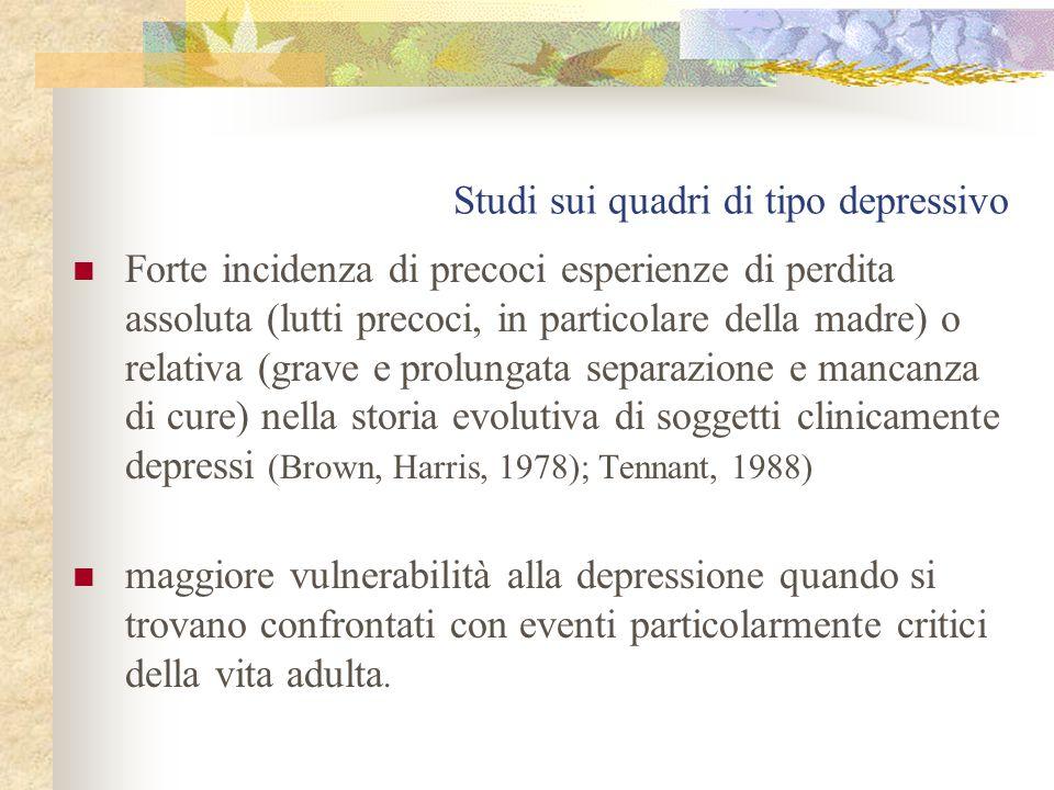 Studi sui quadri di tipo depressivo Forte incidenza di precoci esperienze di perdita assoluta (lutti precoci, in particolare della madre) o relativa (