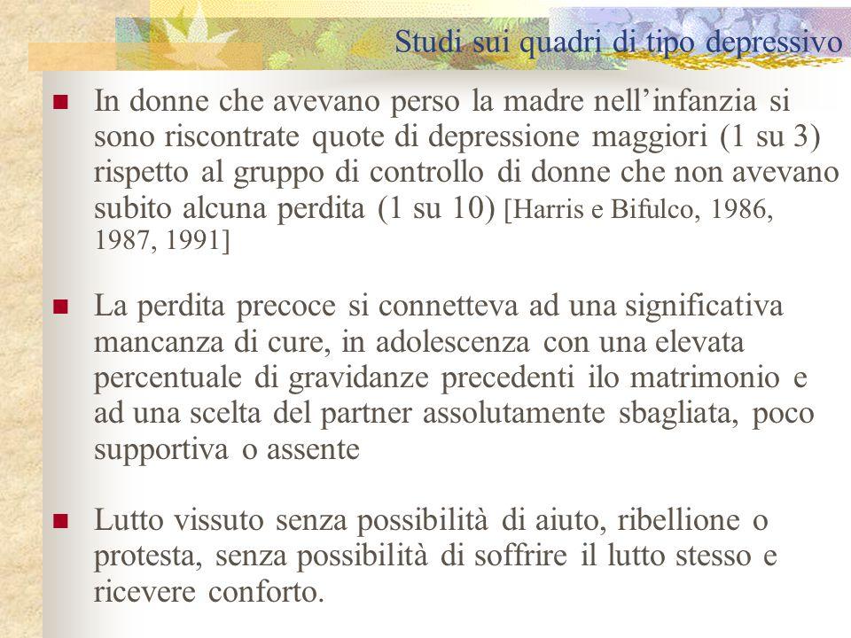 Studi sui quadri di tipo depressivo In donne che avevano perso la madre nell'infanzia si sono riscontrate quote di depressione maggiori (1 su 3) rispe