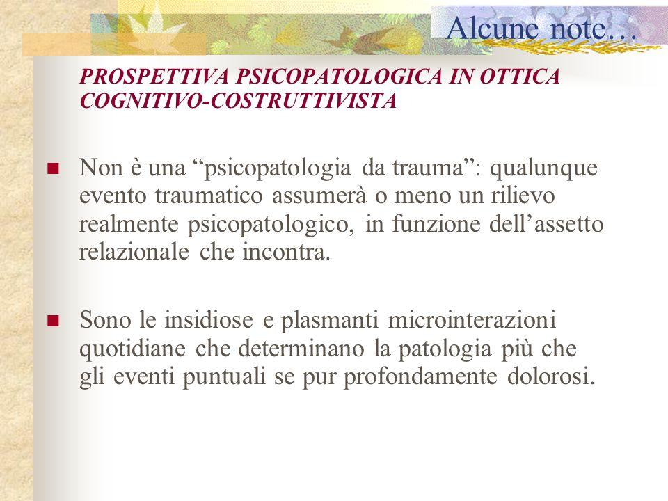 """Alcune note… PROSPETTIVA PSICOPATOLOGICA IN OTTICA COGNITIVO-COSTRUTTIVISTA Non è una """"psicopatologia da trauma"""": qualunque evento traumatico assumerà"""