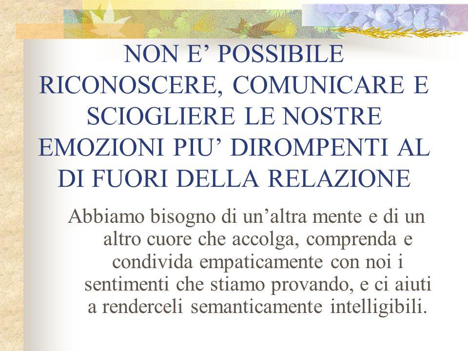 NON E' POSSIBILE RICONOSCERE, COMUNICARE E SCIOGLIERE LE NOSTRE EMOZIONI PIU' DIROMPENTI AL DI FUORI DELLA RELAZIONE Abbiamo bisogno di un'altra mente