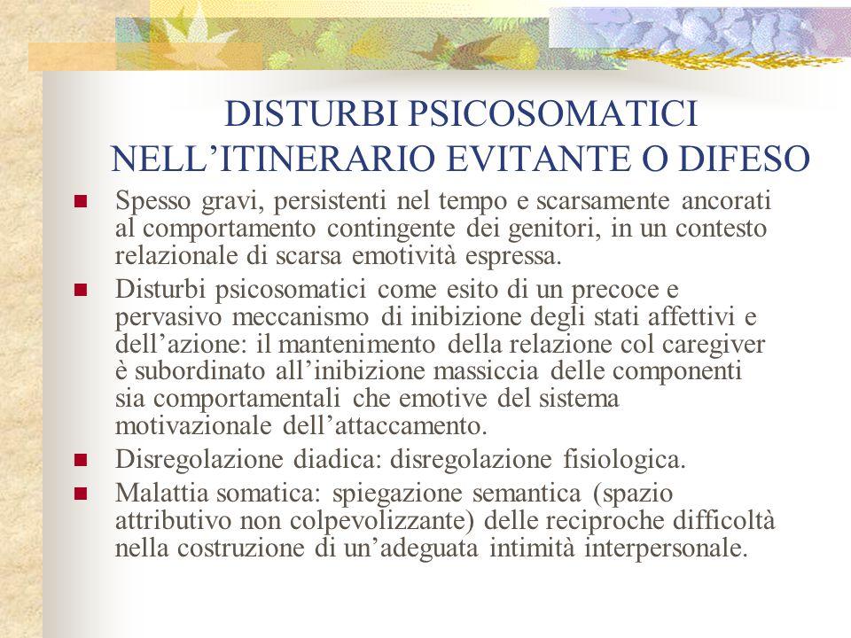 DISTURBI PSICOSOMATICI NELL'ITINERARIO EVITANTE O DIFESO Spesso gravi, persistenti nel tempo e scarsamente ancorati al comportamento contingente dei g