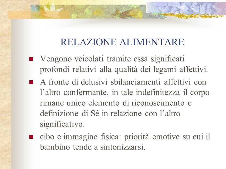 RELAZIONE ALIMENTARE Vengono veicolati tramite essa significati profondi relativi alla qualità dei legami affettivi. A fronte di delusivi sbilanciamen