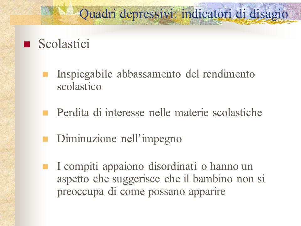 Quadri depressivi: indicatori di disagio Scolastici Inspiegabile abbassamento del rendimento scolastico Perdita di interesse nelle materie scolastiche