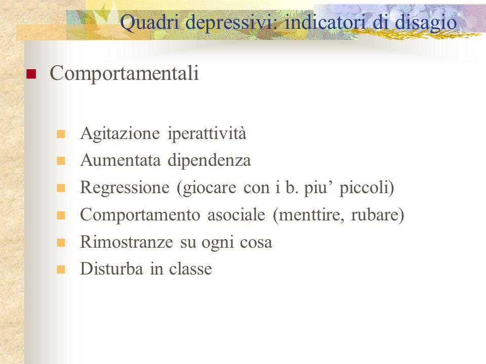 Quadri depressivi: indicatori di disagio Comportamentali Agitazione iperattività Aumentata dipendenza Regressione (giocare con i b. piu' piccoli) Comp