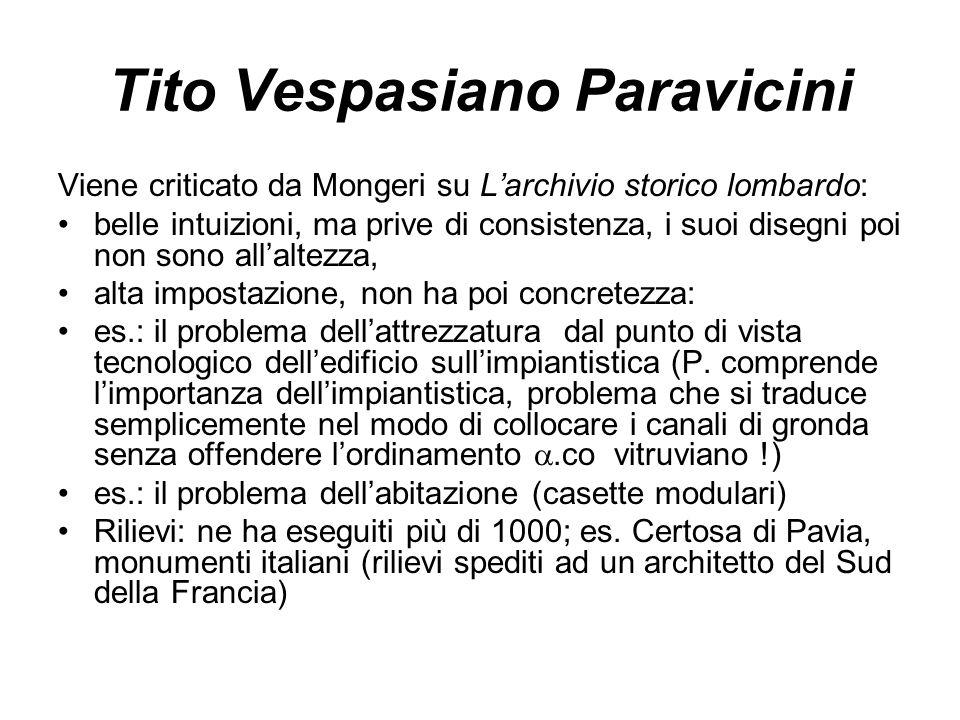 Tito Vespasiano Paravicini Viene criticato da Mongeri su L'archivio storico lombardo: belle intuizioni, ma prive di consistenza, i suoi disegni poi no