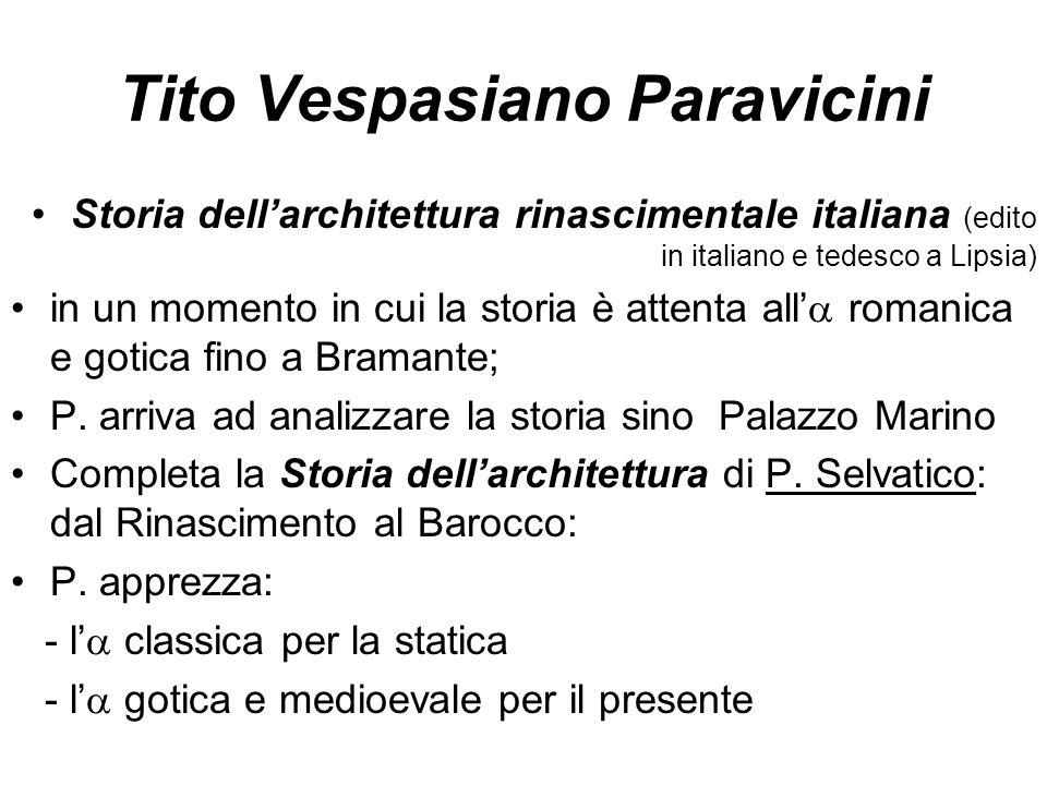 Tito Vespasiano Paravicini Storia dell'architettura rinascimentale italiana (edito in italiano e tedesco a Lipsia) in un momento in cui la storia è at