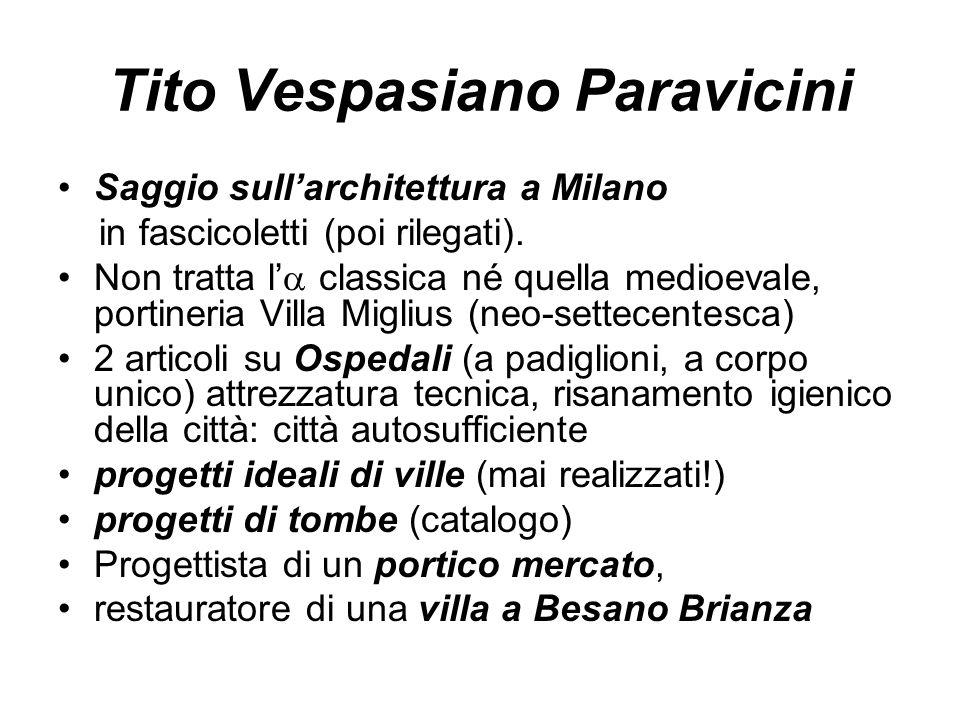 Tito Vespasiano Paravicini Saggio sull'architettura a Milano in fascicoletti (poi rilegati). Non tratta l'  classica né quella medioevale, portineria
