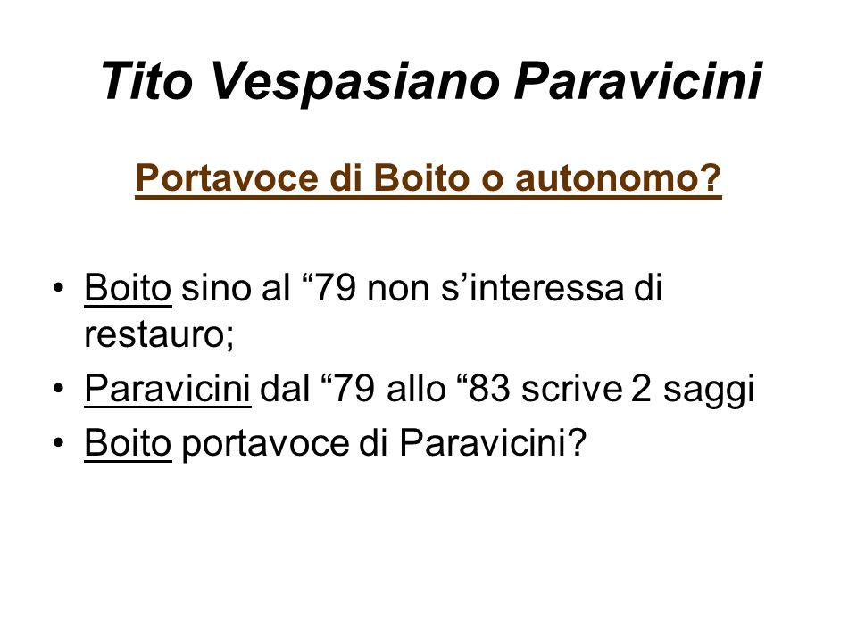 """Tito Vespasiano Paravicini Portavoce di Boito o autonomo? Boito sino al """"79 non s'interessa di restauro; Paravicini dal """"79 allo """"83 scrive 2 saggi Bo"""