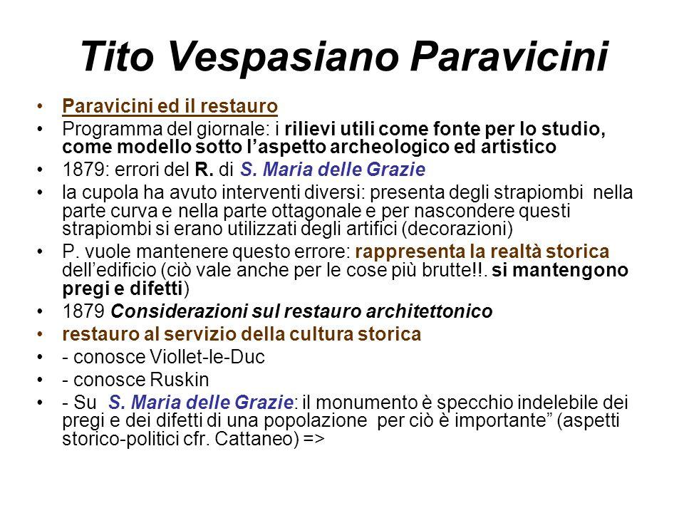 Tito Vespasiano Paravicini Paravicini ed il restauro Programma del giornale: i rilievi utili come fonte per lo studio, come modello sotto l'aspetto archeologico ed artistico 1879: errori del R.