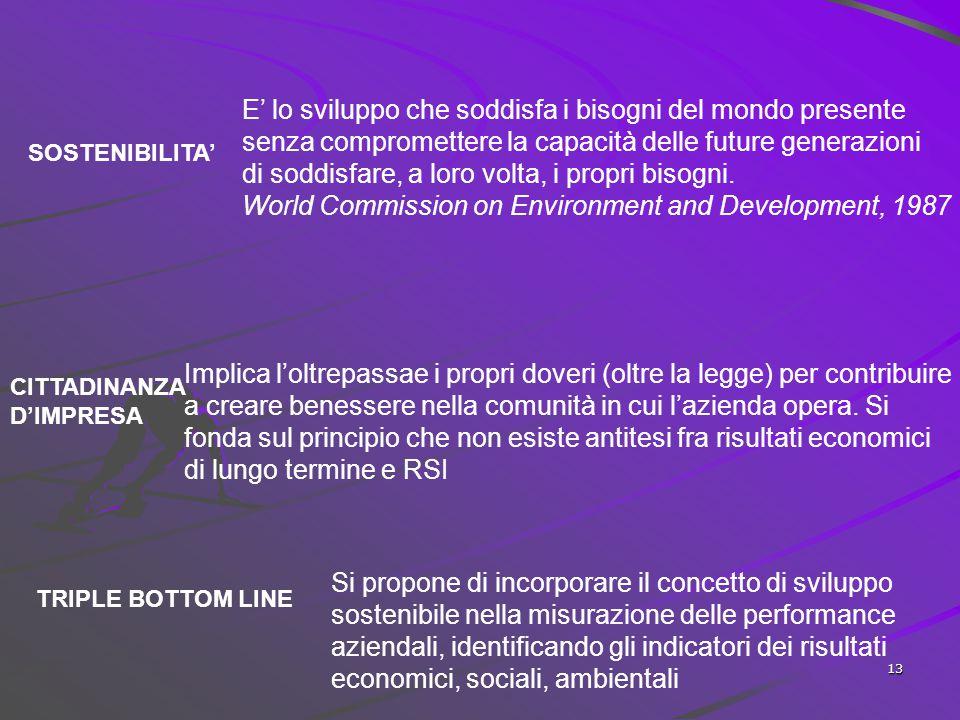12 Le dimensioni della responsabilità sociale d'impresa (RSI) SVILUPPO SOSTENIBILE (sustainable development) CITTADINANZA D'IMPRESA (corporate citizen